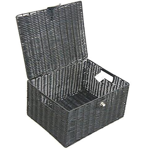 Arpan Panier de rangement en résine tressée avec couvercle et verrou (Basket Archiviazione)