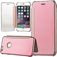 WeLoveCase Funda Tapa iPhone 6S Espejo Carcasas iPhone 6 Rígido Fundas Moviles PC Dura Cubierta Protección Flip Cover Folio Case Resistente Piel Funda de Cuero para Apple iPhone 6/6S Oro Rosa