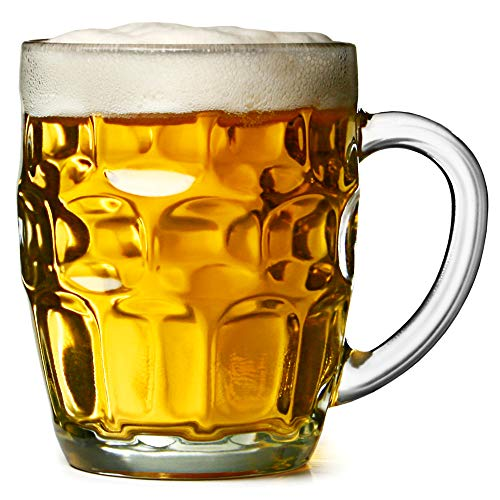 bar@drinkstuff The Great British Pint dimple mug - Set di 4 boccali di vetro 20oz / 568ml, in confezione regalo, ideale come regalo birra