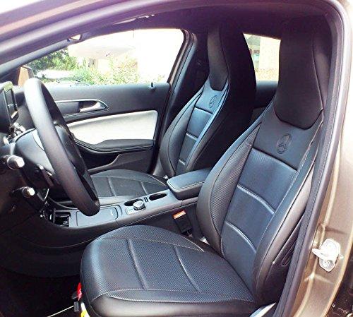 1+1 Autositzbezüge, Kunstleder & Imitation Carbon Fiber mit Synthetik Rückseite Oberfläche, Maßgefertigt, Sitzbezügesets, Farben SCHWARZ