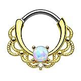 Piercingfaktor® Piercing Universal Clicker Schild Ring Septum Nasenpiercing Lippenpiercing Tragus Helix Ohr mit Opal Vergoldet Gold Weiß