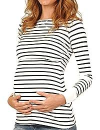 Yefree Tops de Lactancia Multifuncional para Mujeres Embarazadas Tapas de enfermería a Rayas Delgado Fasion Primavera V-Collar otoño suéter Capa Abrigo