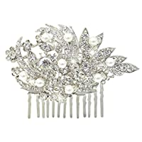 EVER FAITH® Crystal Ivory Color Simulated Pearl Wedding Hair Comb Floral Clear N02427-1