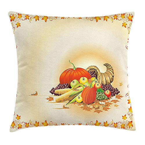 Harvest Throw Pillow Cushion Cover, Maple Tree Frame with Rustic Composition for Thanksgiving Halloween Dinner Food, Decorative Square Accent Pillow Case, 18 X 18 inches, Multicolor
