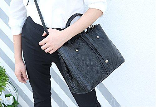 Xinmaoyuan Handtaschen der Frauen Herbst und Winter Handtaschen Einfache Pendler erste Schicht aus Leder Handtasche Schultertasche Paket mit hoher Kapazität, Schwarz Schwarz