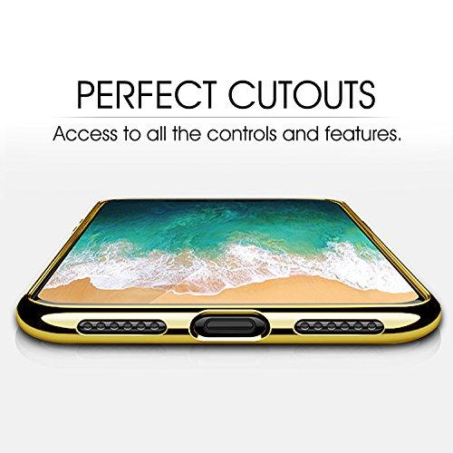 iPhone X Hülle, Mture iPhone X Schutzhülle Crystal Clear Bumper Case Ultra Dünn Backcover Tasche Kratzfeste Handyhülle TPU Case Schutzhülle für iPhone X Case Cover (Transparent) Gold