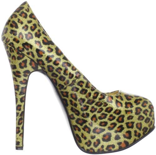 Bordello Teeze-37 Rund Synthetik Plateauschuh Gold Cheetah Pat