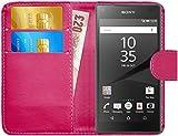 G-Shield Coque Sony Xperia Z5 Compact, Étui à Rabat en Cuir [Emplacements pour Cartes] [Fermeture Magnétique] Housse Portefeuille Coque Étui pour Sony Xperia Z5 Compact - Rose