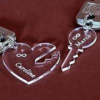 Verre acrylique pendentif de l'Infini, individuellement gravé Porte-clés dans différentes formes au choix