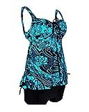 Yonglan Damen Halter Große Größen Einteiliger Badeanzug Hohe Taille Push-up-Bikinis Gepolsterter BH Badebekleidung Strand Bikini Badeanzüge Hellblau 5XL