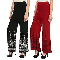 Haniya Free Size Combo of Printed Viscose Palazzos for Women (Red & Black)