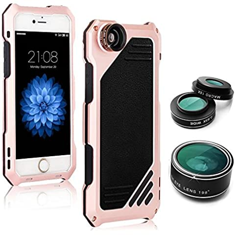 iroundy iPhone 6(4,7) protezione per lo schermo in vetro temperato, con 3in 1kit obiettivo, obiettivo fisheye + grandangolo + Macro per fotocamera, con IP54antipolvere shockproof custodia in alluminio