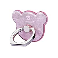 Cell Phone Ring Stand Holder, CAFELE 360° Rotation Smartphone Grip Sticky Kickstand - Bear Shape (Pink)