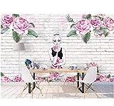 Ytdzsw Murale Personalizzato 3D Foto Wallpaper Fiore Bellezza Muro Di Mattoni Sfondo Muro Foto 3D Murales Carta Da Parati Per Soggiorno-200X140Cm