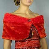 Stole donna invernal scialli Faux Pelliccia vestito da sposa nuziale poncho Rosso