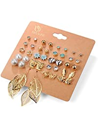 Amour Punk 20 Pairs Pack Set Brincos Mixed Stud Earrings For Women Crystal Ear Studs Fashion Simulated Pearl Jewelry...