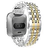 WISLECT Fitbit Versa Band, Bracelet de maillon en Acier Inoxydable Bracelet de Remplacement avec Double Bouton...
