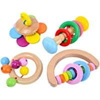 Confezione da 4 sonagli giocattolo per bambini, giocattoli per le prime fasi dello sviluppo, adatti per bambini da 0 a…