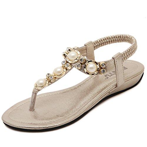 dqq femmes de perles ankls Sangle String Sandal Beige