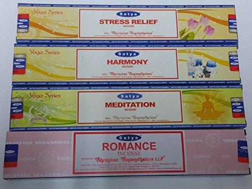 Satya Räucherstäbchen Set von 4--Romance, Harmony, Meditation, Stress Relief von Sterling effectz -
