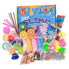 Idea Regalo - Joyjoz Slime DIY Kit Fluffy Giocattoli, 12 Slime Argilla Cristallo + 3 Slime Frutta Colorata, con Decorazioni come Sfere di Schiuma Colorata, Scuotimento di Glitter, Regalo Atossico per Bambini (43Pz)
