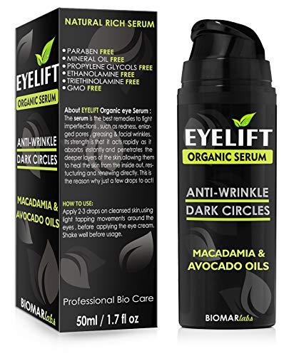 EYELIFT Organic Serum - 100% Bio Augenserum/Gesichtsserum gegen dunkle Augenringe, Taschen unter den Augen & Schwellungen, Veganes Anti Aging & Feuchtigkeitsserum für Damen & Herren, 50ml -