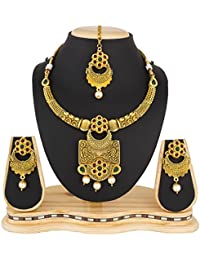 The Luxor Wedding Bridal Jewellery Kundan And Pearl Choker Necklace Set For Women And Girls