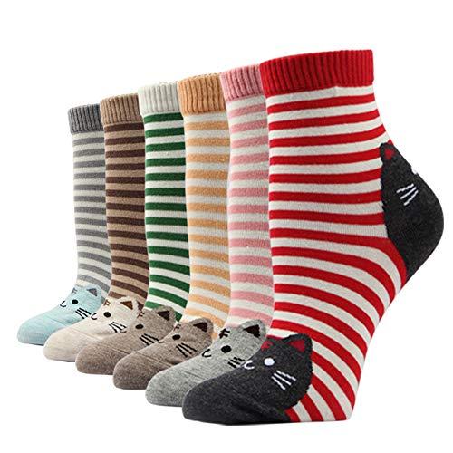 Ezsox Damen Socken Mädchen aus Baumwolle Erwachsene Unisex Frauen Mädchen Lässige (6 Paar Hund Katze Polka Dot Socken #106, EU 35-40) - Polka Dot Kinder Socken