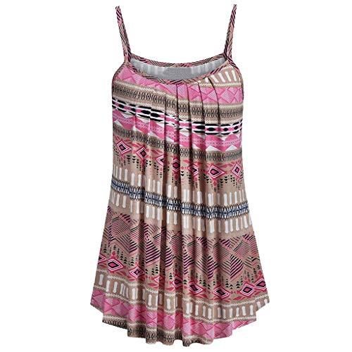 Andouy Damen - Camis Top Print - Ärmellose Weste Tank Plus Size Gr.36-52 Übergroße Laides Daily Beach Straps-Bluse(L(40).Khaki-Geometrisch) - Butterfly Plus Größe T-shirt