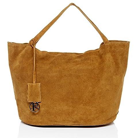 BACCINI sac porté épaule SELMA - grand - besace hobo - sac des dames beige-marron en cuir véritable