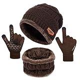 Petrunup Hut Loop Schal und Handschuhe Touchscreen Warm Gestrickt 3Pcs Winter Set Unisex Braun