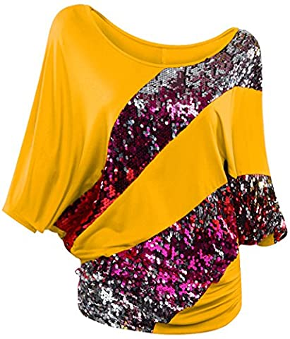 LemonGirl Women's Loose Short Sleeve Blouse Sequins Shirts Tops