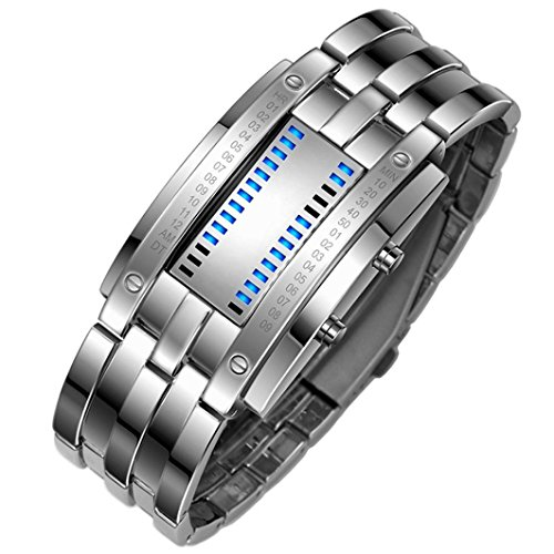 iHee Armband, bequem zu tragen, Luxus-Edelstahlband für Herren, digitales LED-Armband, Sportuhr, modisch, leicht zu verwenden, sehr cool (Silber)