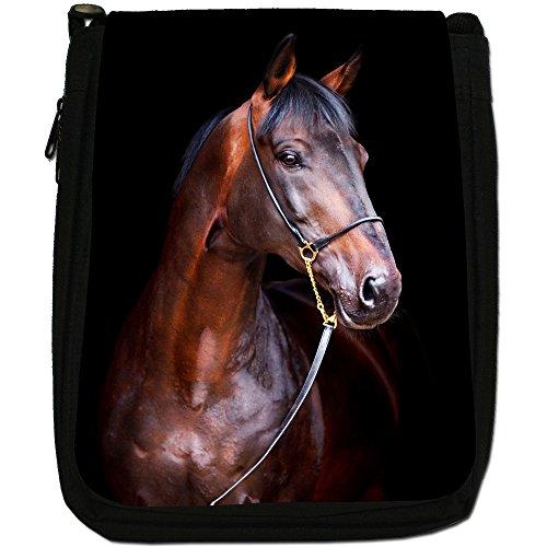 Elegante cavallo marrone medio nero borsa in tela, taglia M Purebred Bay Horse Ready Show