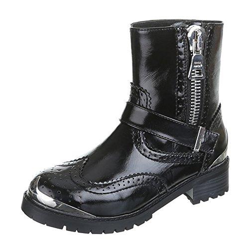 Damen Schuhe, ADRIA, BOOTS Schwarz Silber GABRIELLA