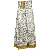 Mogul Interior Womens Maxi Skirt White Vintage Silk Sari Smocked Waist Stylish Skirts