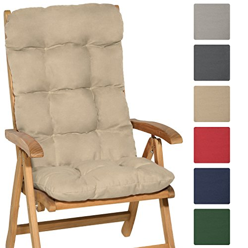 Beautissu Flair HL - Cojín para sillas de balcón o asiento exterior con respaldo alto - 120x50x8 cm - Natural