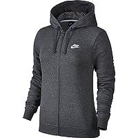 Nike W NSW Hoodie FZ FLC Sudadera, Mujer, Gris (Charcoal Heathr/White), S