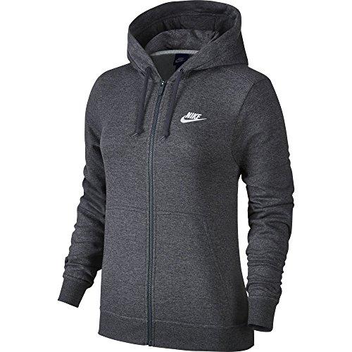 Nike Damen Sportswear Fleece Langarm Oberteil mit Kapuze Full-Zip, Charcoal Heather/Charcoal Heather/White, XS