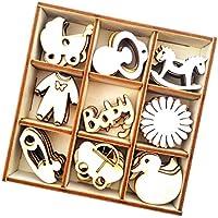 MagiDeal 45 Pedazos/Caja con 9 Pedazos de Madera Regalos para Ducha de Bebé Embellecimientos de Arte
