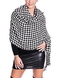 Damen xxl Schal pepita Muster Wolle flauschig mit Fransen