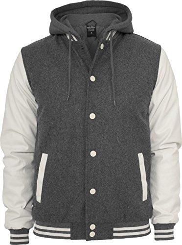 Urban Classics felpa da uomo con cappuccio giacca Oldschool College TB438 Slim Fit Grigio/Bianco