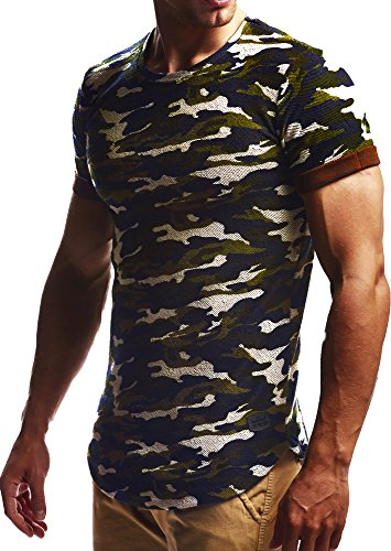 LEIF NELSON Herren oversize T-Shirt Hoodie Sweatshirt Rundhals Ausschnitt Kurzarm Longsleeve Top Basic Shirt Crew Neck Vintage Sweatshirt LN6324 S-XXL; Größe XL, Camouflage (Kurzarm-shirt-jacke)