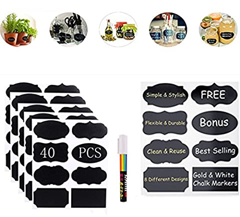 Af cloud 40 Pcs Blackboard Labels-Removable Blackboard Labels Organize Your Kitchen Bottles And Wedding Beers; With Erasable Chalk Markings High Quality Reusable Adhesives Blackboard Stickers For Kitchens And