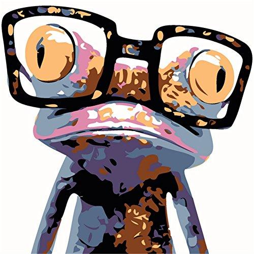Preisvergleich Produktbild YEESAM ART Malen nach Zahlen Kinder - Frosch trägt Brille 25 x 25 cm - Mit Rahmen, fertig zum Aufhängen