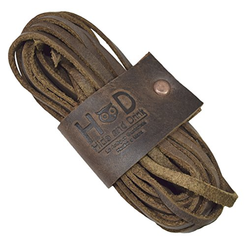 Hide & Drink Hide & Drink Durable Leather Boot Thin Shoe Laces Handmade by Bourbon Brown