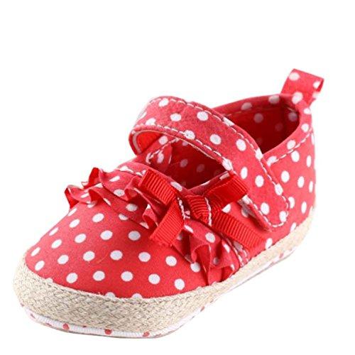 kingko® Chaussures bébé fille Toile Sneaker Anti-dérapant Chaussures Semelles souples Toddler (12, Bleu) Rouge