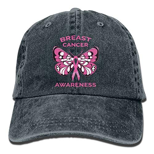 Damen-pink Ribbon Adjustable Hut (RuiShuoPiCao Baseball Cap Breast Cancer Awareness Butterfly Pink Ribbon Women Golf Hats Adjustable Baseball Hat)