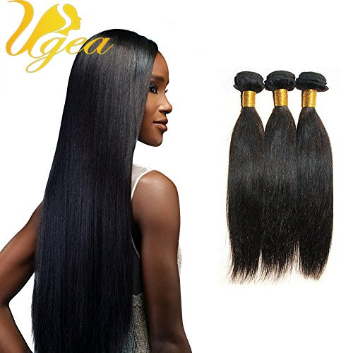 Ugeat 300gram Tete Completer Sew in Weave Lisse Tissage Bresilien Vierge Humain Cheveux Naturel 24,26,28 Pouces/60,65,70cm