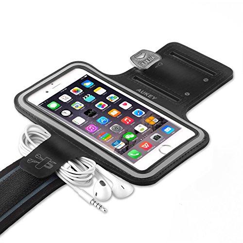 AUKEY Brazalete Deportivo iPhone 6 Plus / 6s Plus ( 5,5 pulgadas ) Antideslizante con Velcro y Bolsillito, Material de Neopreno Contra Sudor Banda para Brazo Universal Brazalete Movil para Huawei P9 / P9 Plus / P8 - Negro